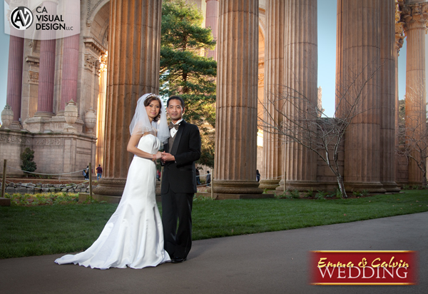 Emma and Calvin Wedding Portrait at Palace of Fine Arts, San Francisco